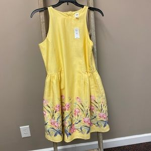 Gap kids yellow floral sleeveless dress xxl